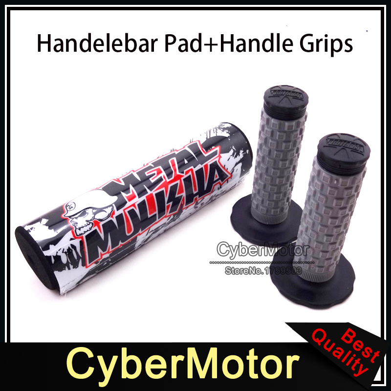 7/8 22mm Round Handlebar Bar Cross Pad Cushion Throttle Handle Grips For Metal Pit Pro Trail Dirt Motor Bike Motocross Motard