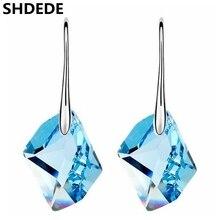 SHDEDE женские модные ювелирные изделия с синими кристаллами от Swarovski, длинные висячие серьги, ювелирные изделия для женщин, пирсинг-6929
