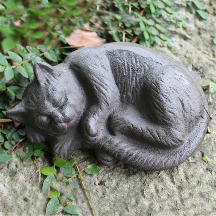 Wrought Iron Sleeping Cat Rural Cast Iron Cat Animal Figurine Cottage Cabin Lodge Yard Garden Outdoor Decor Country Ornament