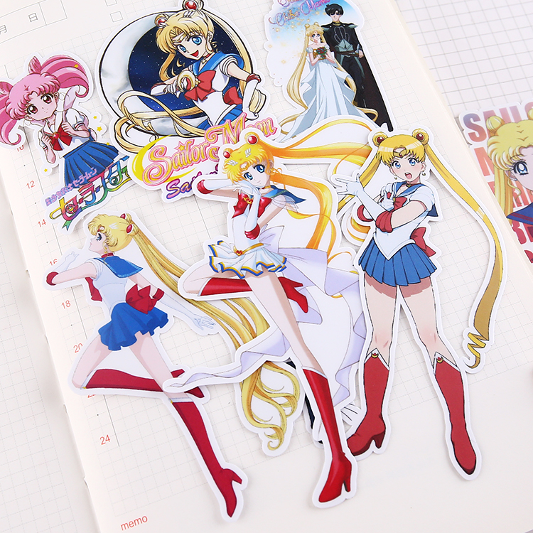 13pcs/pack Cute Cartoon Sailor Moon Stickers/Anime Girls Stickers Decoration Material /waterproof  Stationery Scrapbooking