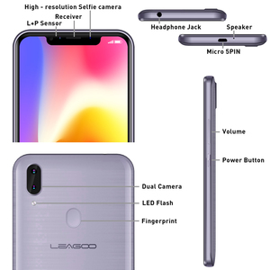 "Image 4 - מקורי LEAGOO M11 4G טביעות אצבע נייד טלפון 6.18 ""SIM הכפול אנדרואיד 8.1 Quad Core 2GB RAM 16GB ROM 4000mAh פנים מזהה Smartphone"