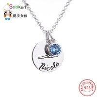 Gravieren Brief 925 Sterling Silber Runde Cilcle Halsketten Für Frauen Blau Zirkonia Dance Anhänger Kette Halskette Jwewlry