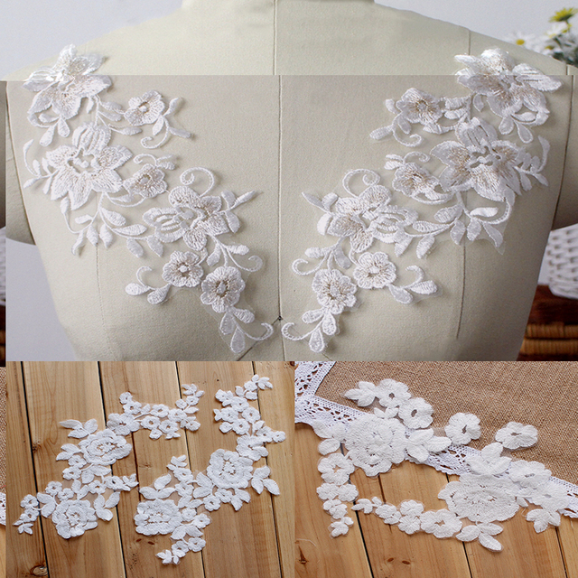 6b25e89ded6 2Pcs 1Pair Embroidered Flower Lace Applique Soft Lace Trim For DIY Wedding  Dress Veil Stocking Off White Color