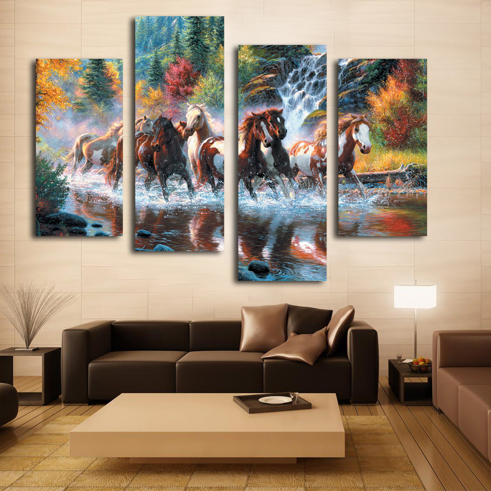 Nice woonkamer wanddecoratie art mooie paard canvas