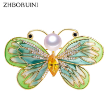 ZHBORUINI New High Quality Natural Freshwater Pearl Brooch Enamel Butterfly Gold Jewelry For Women Not Fade Gift