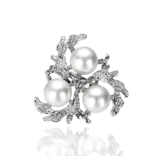 Родий Серебряный тон кремовый или белый жемчуг и прозрачный горный хрусталь, страз Диамант цветок брошь шпильки на вечеринку - Окраска металла: White Pearl