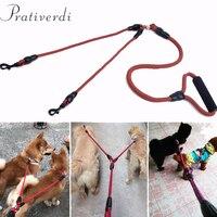 Prativerdi Trela Do Cão Dupla Gravata Collar Cães Acessório de Acessórios de Cinto de segurança Para O Arnês Treinamento Do Gato do Filhote de Cachorro Pet Shop Suprimentos