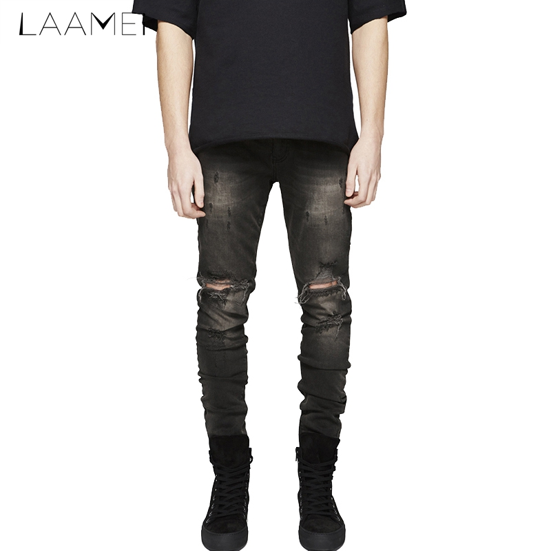 Laamei Males Casual Jean Zipper Fly Jeans Pleated Pencil Pants With Holes Denim Skinny Slim Lightweight Pants 2018 Fashion