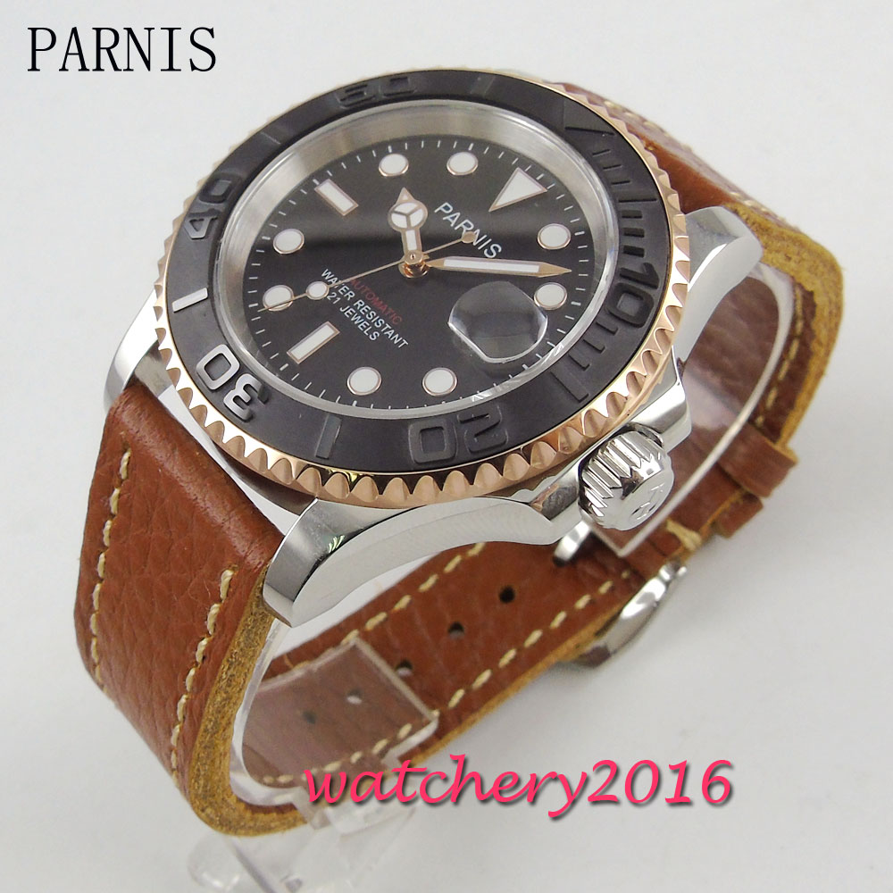 41mm Parnis brown dial brown leather strap luminous sapphire glass date adjust 21 jewels miyota Automatic movement Men's Watch 41mm parnis blue dial ceramic bezel stainless steel sapphire glass date adjust 21 jewels miyota automatic movement men s watch