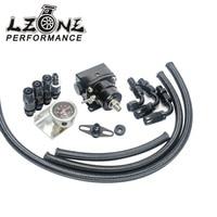LZONE RACING-Volledige Zwart AE STIJL 7 MGTE MKIII EFI Brandstofdrukregelaar met slang lijn kits. Fittings. Gauge MET LOGO JR7843BK