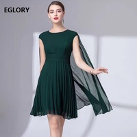 Cape Poncho Dress for Party 2019 Summer Style Women O Neck Short Sleeve Solid Green Blue Pleated Dress Vestidos Robe Femmes XXL