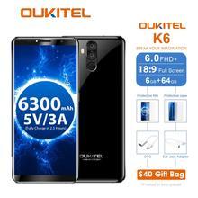 Oukitel K6 6300 mAh Батарея 5V3A быстро Charge6.0 »18:9 Face ID 6 GB 64 GB MT6763 восьмиядерный смартфон 4G отпечатков пальцев 21MP + 13MP 4Cam