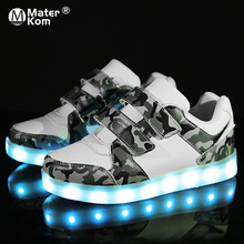 Size 25-37 USB Charging Children Boys Shoes with Sole Enfant