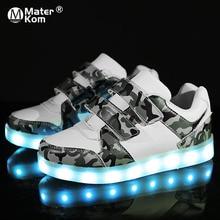 Кроссовки Детские с подсветкой, зарядка через USB, светодиодные светильник ящиеся ботинки для мальчиков и девочек, Размеры 25 37