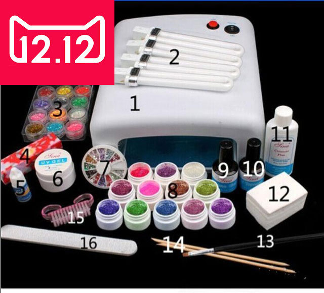 EM-123 free shipping Pro Full 36W White Cure Lamp Dryer & 12 Color UV Gel Nail Art Tools Sets Kits em 123 free shipping pro full 36w white cure lamp dryer