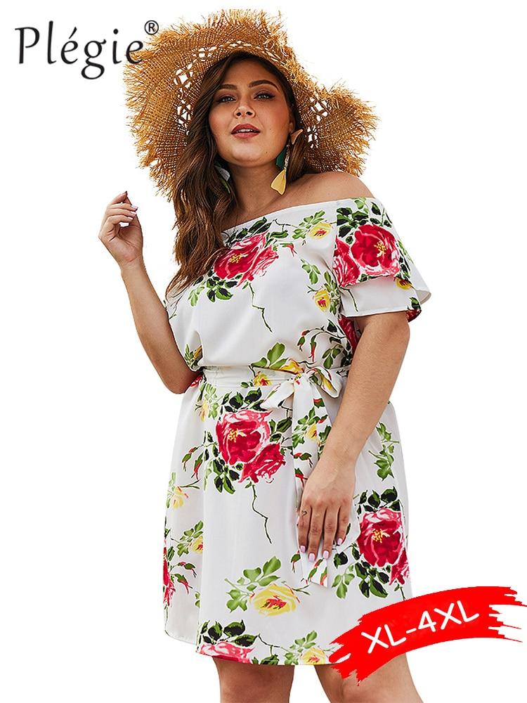 Женское платье с цветочным принтом Plegie, белое Бандажное платье большого размера с вырезом лодочкой и цветочным принтом на лето, 2019