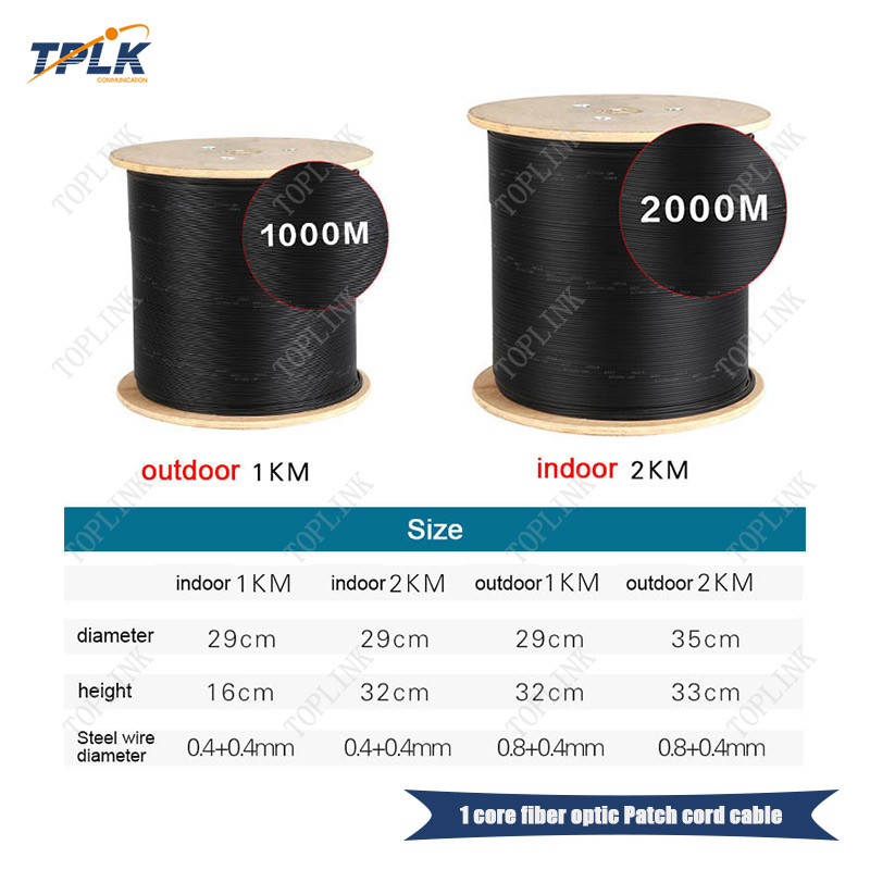 Низкая цена 2000 м/рулон 1 Базовый FTTH кабель, ПВХ LSZH Куртка, для наружного, белый или черный SM оптоволоконный кабель