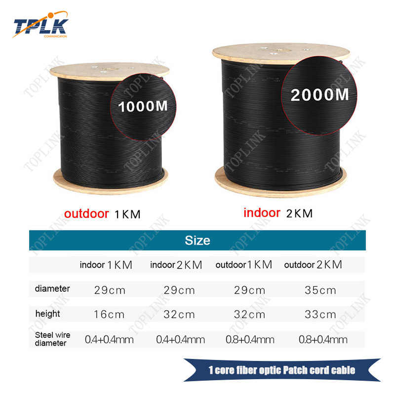 Cheapest price 2000M/roll 1 core ftth cable,PVC LSZH Jacket,for outdoor, White or black SM Optic fiber Drop cable