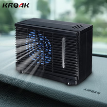 KROAK 12/24V 60W Portable Mini Home Car Cooler Cooling Fan Water Ice Evaporative Car Air Conditioner Black