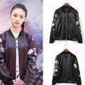 2016 New Arrived Women Casual Long Sleeve Full Zip Up Flower tiger Embroidery black Bomber baseball Jacket Coat jaqueta feminina