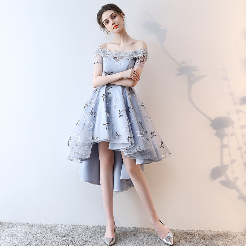 7a2e08ad90904a LAMYA Embroidery Prom Dresses Short Front Back Long Tail Banquet Evening  Dress 2019 Formal Party Gown Plus Size Elegant Dresses-in Prom Dresses from  ...