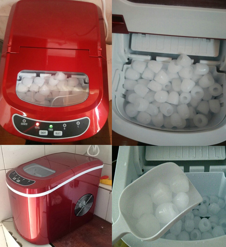 High Quality 220V 15kg Per Day Bullet Round Ice Maker Bar Round Ice Making Machine Red R134a