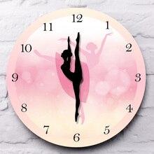 Girl Bedroom Decor Ballet Girl Princess Pink Wall Clock Baby Girl Dancing Wall Clock Ballerina Moving Leg Dancing Clock Watch