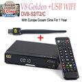 V8 Ouro DVB-T2 DVB-S2/C Receptor de Satélite HD + 1 Ano de Suporte Cccam Europa PowerVu Receptor Decodificador Chave Biss com 1 pc usb wifi