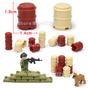 Military Oil Drum Building Blocks 2x2 Piece ww2 Military Figures City Weapons Battlefield Set  Toys For Children Gift Legoinglys