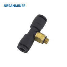 10Pcs/lot PB - C Compact One Touch Fitting Mini Fittings Plastic Male Branch Tee Pneumatic Push In Connector Sanmin
