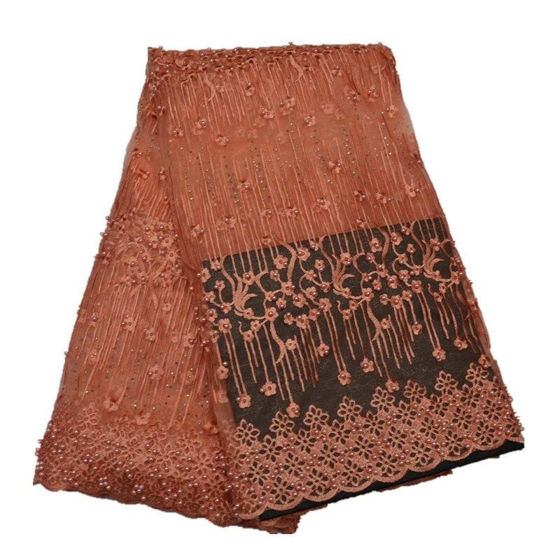 Aqua couleur africaine haute qualité Tulle français Net dentelle tissu avec perle et pierre pour la fête de la robe 5 mètres - 4