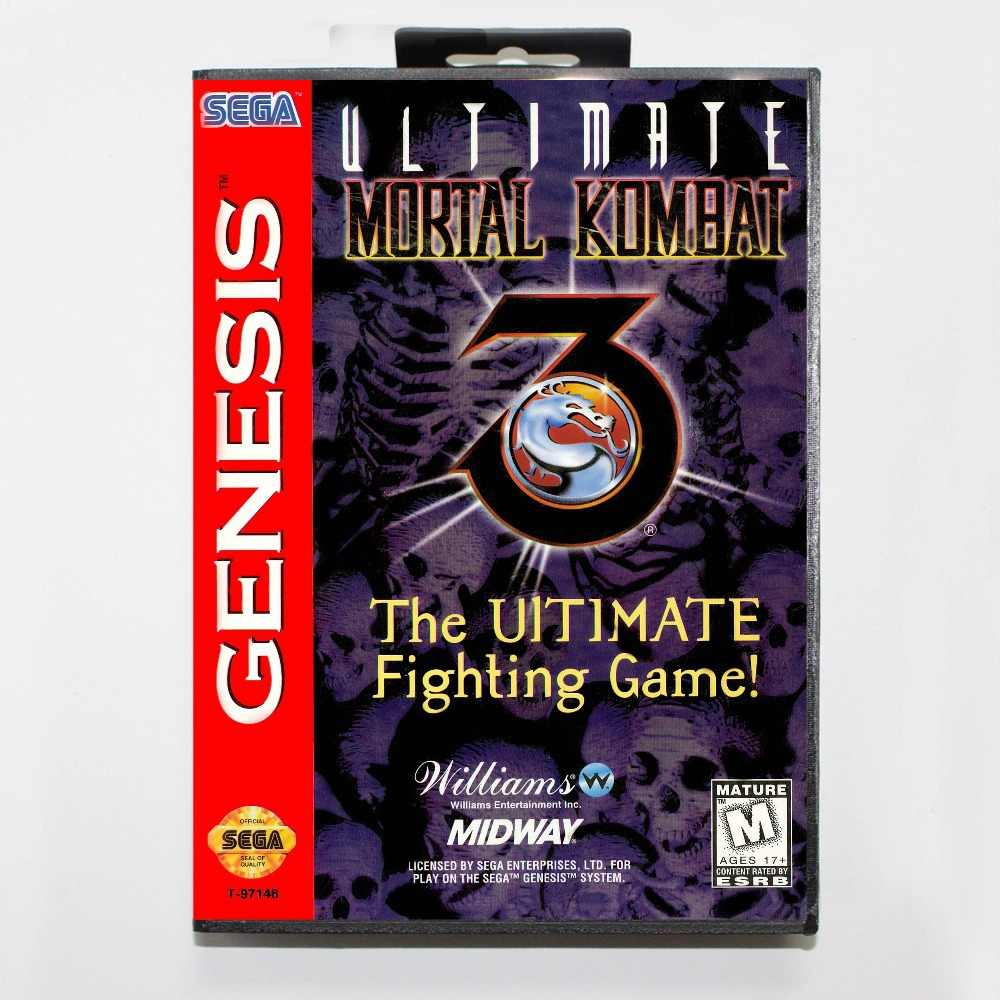 Ultimate Mortal Kombat 3 16 bit MD Game Card With Retail Box For Sega Mega Drive/ Genesis