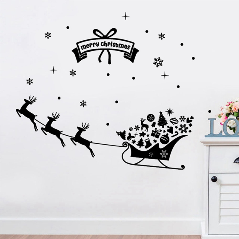 Christmas Decoration Decal Window Stickers removable glass wall Xmas Merry Christmas Deer&Sleigh Ride wall sticker supply