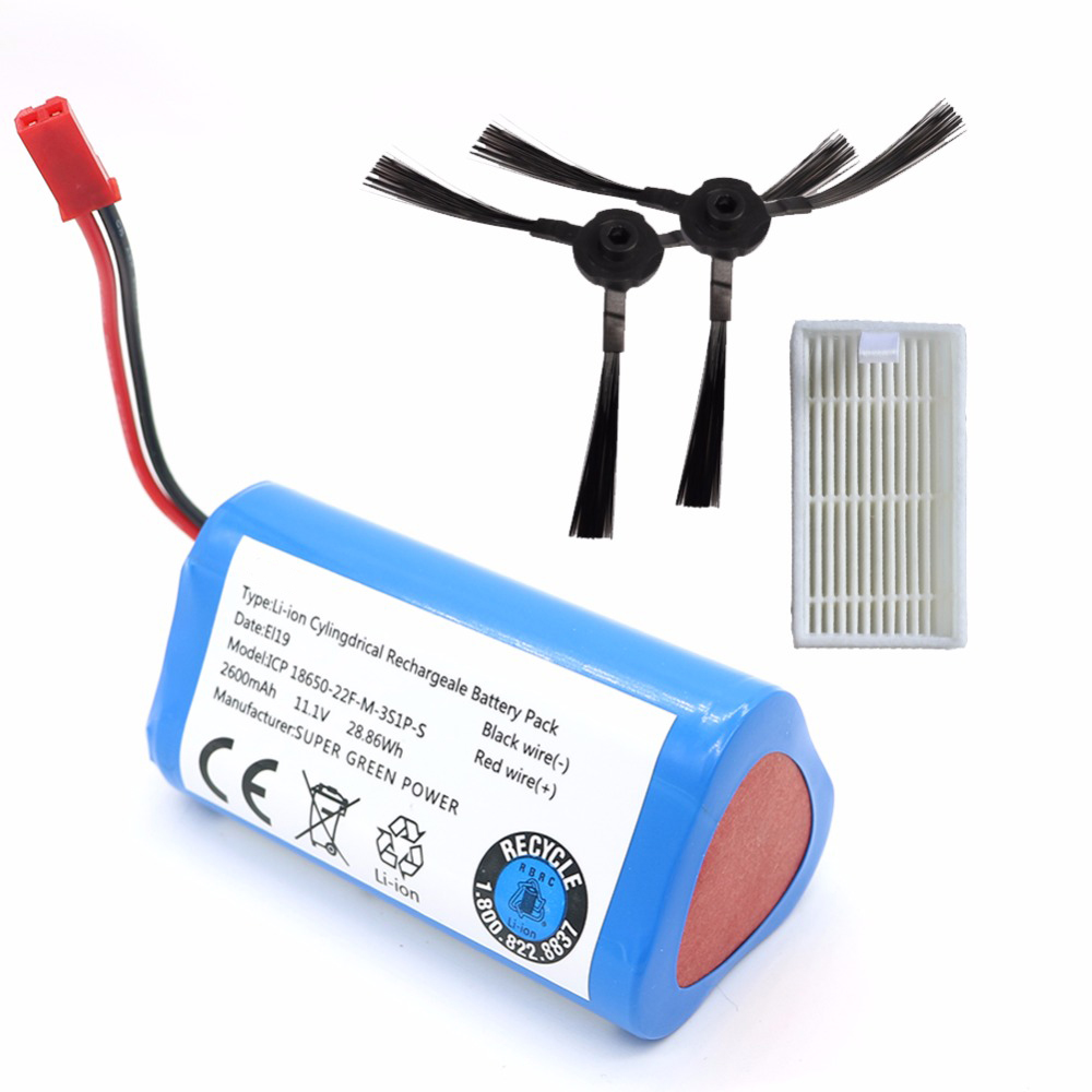 2017 NEWEST 11.1V 2600mAh for Robotics Vacuum cleaner Battery brush filter replacement parts for Chuwi ilife V5PRO V3 V3+ V5S V7 xr510 battery for rechargeable vacuum cleaner brand new vacuum cleaner parts 14 4v 2200mah battery powered replacement