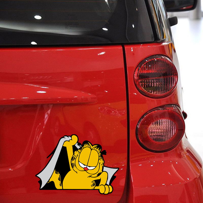 1PC 14*10CM Funny Lovely Garfield Cat Animal Anime Cartoon Car Styling Motorcycle Car Stickers And Decals Exterior Accessories garfield fat cat 3 pack volume 10