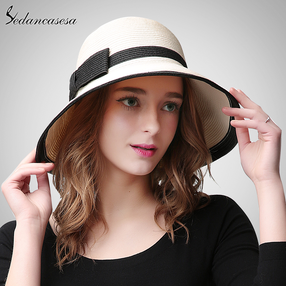 Sedancasesa Summer Handmade bow Straw hat womens Garland sunbonnet bucket hat roll-up hem beach cap sun hat for women SW105082