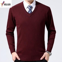 2018 Spring Mens Sweater Pullovers Simple Style Cotton Knitted V Neck Sweater Jumpers Thin Male Knitwear M 3XL