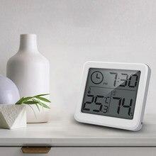 Multifuncional termômetro higrômetro automático eletrônico monitor de umidade temperatura relógio 3.2 polegada grande tela lcd com suporte