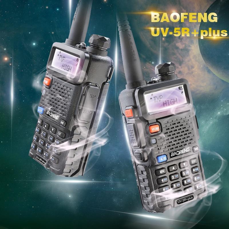 2PCS / LOT Nykomst Långspänning 8W / 4W / 1W Trippelutgång Valbar Interphone Baofeng UV-5R plus Gratis Headset