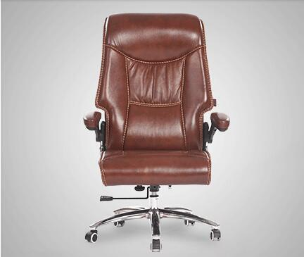Real leather reclining chair. Solid wood four-legged computer chair. Fixed armrest leather art office chair.028