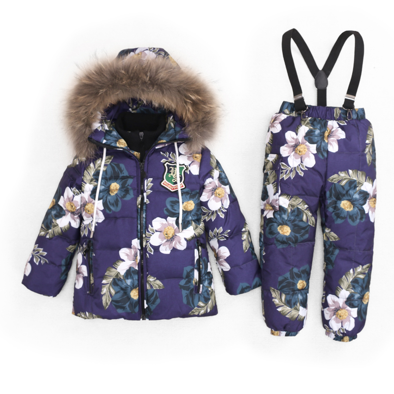KABULANDY 3~7T Russian Children Real Fur Warm Clothing Sets Girls Snowsuit Girl Winter Down Coat  Kids Flowers Ski Suit Chothes