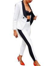 2016 Autumn Female 2-piece Set Black White Patchwork Elegant Pants Suits for Women Office Ladies Business Casual Blazer Set