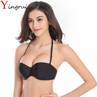 Halter Adjusted Straps Bras Sexy Women Brassiere Cup Solid Black Underwear Backless Dress Seamless Chest Bralette