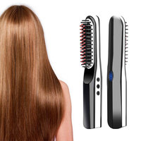 USB Portable mini Straight Hair Comb Fast Electric LED Indicator Travel Anion Straight Straightener Beard Combs Brush