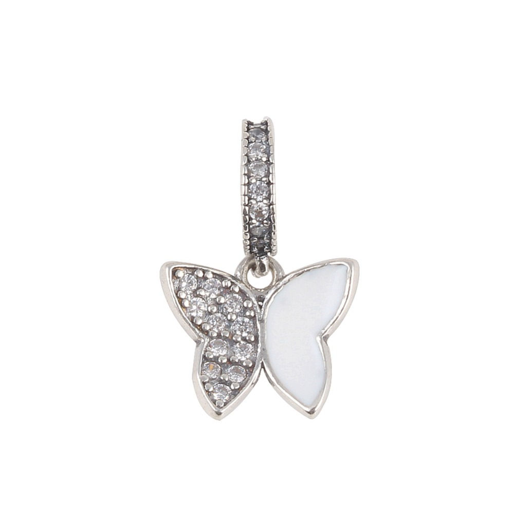 ZMZY NEW Clear Cz Pave Fluttering Butterfly Pendants Charms 925 Sterling Silver Jewelry Fits Pandora Charms Bracelet DIY
