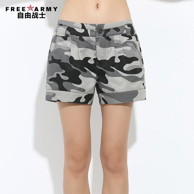Бесплатный армия Камуфляж шорты женские летние свободные колен шорты случайные тонкие одиночные-шорты женский GK-9326
