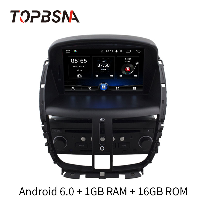 TOPBSNA Android 6.0 Car dvd Player For Peugeot 207 2008-2014 Radio Car Multimedia GPS Navigation Mirror-link stereo auto Audio