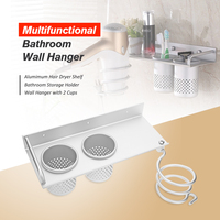 Multi Function Bathroom Hair Dryer Holder Wall Mounted Rack Space Aluminum Shelf Storage Organizer Hairdryer Holder