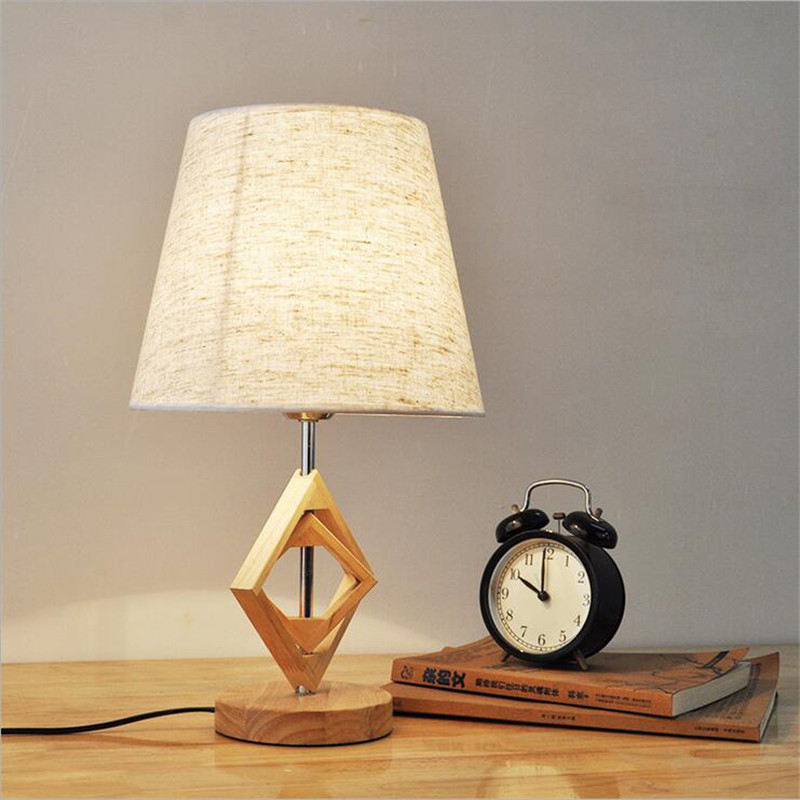 ФОТО Table Lamp Modern E27 BULB NATURAL Key Switch Dimmer Switch Wooden Base Fabric Lampshade Fashion DESK LIGHT For Bedroom LIGHTING