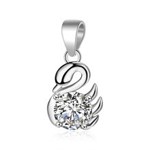 1pcs 100% Real 925 Pure Silver Clear Shiny Zircon Stone Elegant Swan Charm Pendant for Women Weeding Necklace Jewelry Making цена в Москве и Питере